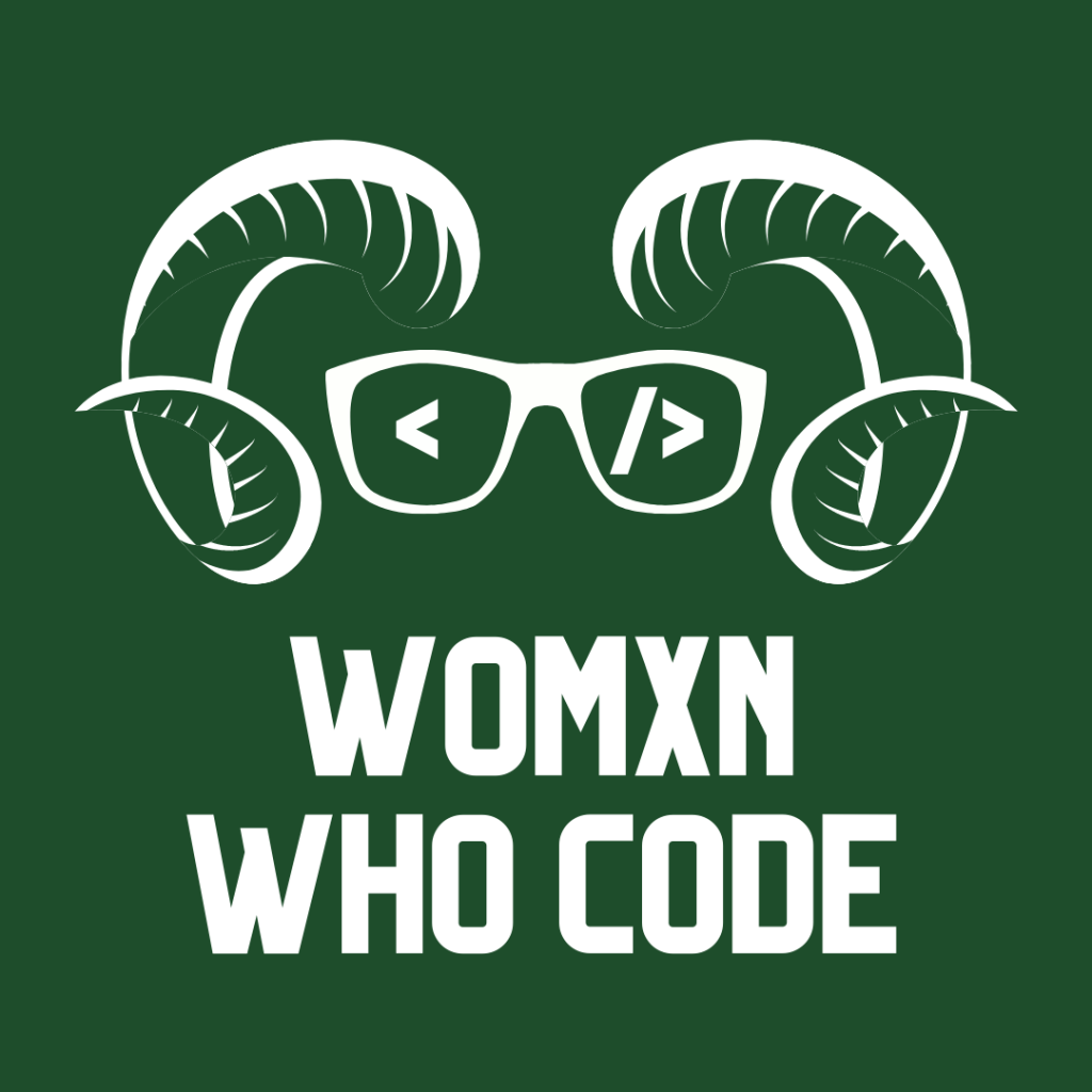 "Ram horns with glasses that show HTML code and the words ""womxn who code"""