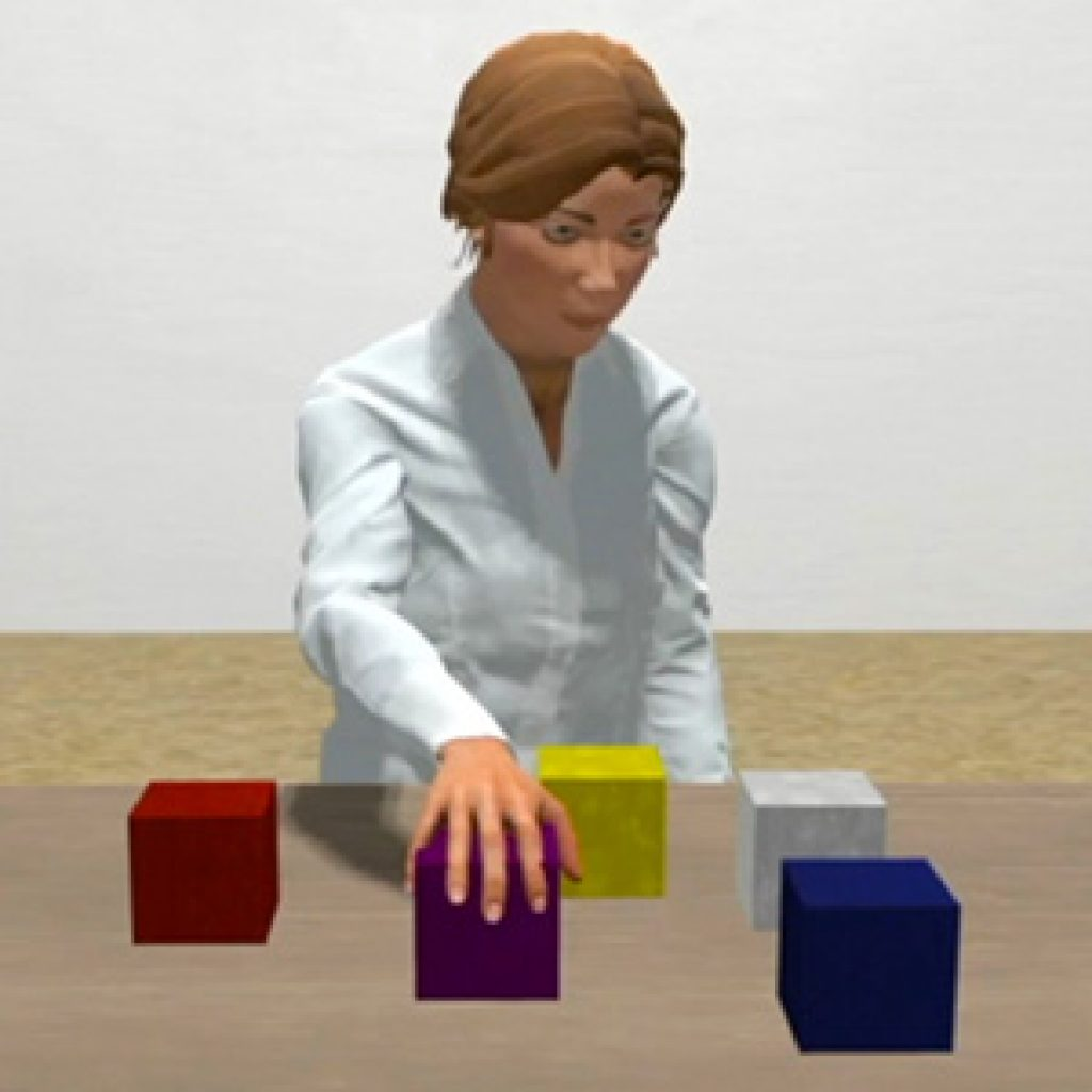 image of Diana avatar interacting with colored blocks