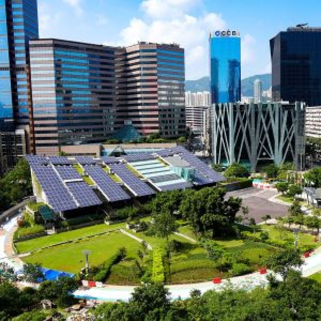 photo of solar panels in an urban area